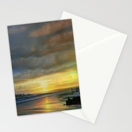 Captivating Sunset Over The Harbor Stationery Cards