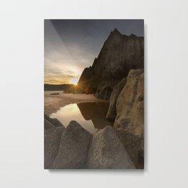 Sunset at Three Cliffs Bay Metal Print