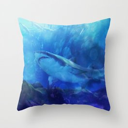 Make Way for the Great White Shark King  Throw Pillow