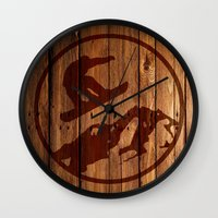 snowboarding Wall Clocks featuring snowboarding 3 by Paul Simms
