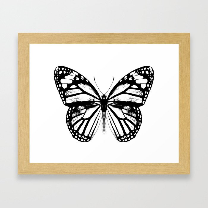 Monarch Butterfly | Black and White Framed Art Print by ...