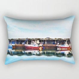 3 Boats in Dieppe Harbour Rectangular Pillow