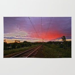 Northern sunset at white night Rug