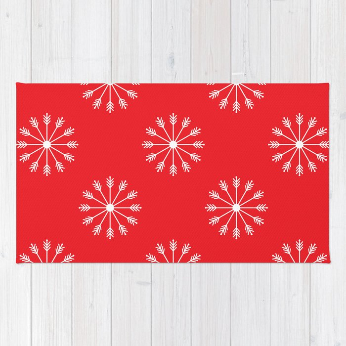 Snowflakes - red and white Rug