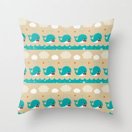 Whale Squirts Throw Pillow
