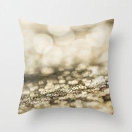 Shiny gold sparkling bokeh Throw Pillow