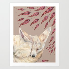 Fennec Fox Feather Dreams in Taupe Art Print