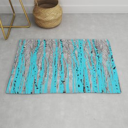 Birch Trees in Blue Rug