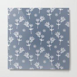 White thistle on grey pattern Metal Print