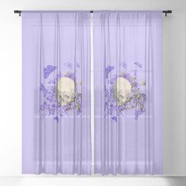 Purple Halloween Floral Skull Sheer Curtain
