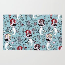 Molly Mermaid vintage pinup inspired nautical tattoo Rug