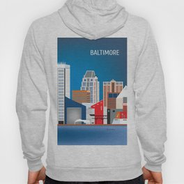 Baltimore, Maryland - Skyline Illustration by Loose Petals Hoody