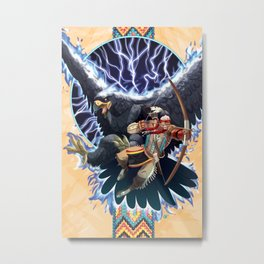 The Warrior and the Thunderbird Metal Print