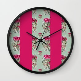 Dried Roses and Stripes Wall Clock