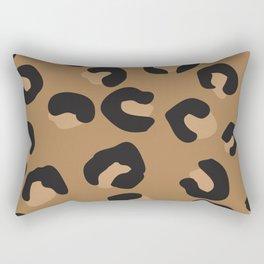 Tan and Black Large Leopard Print Rectangular Pillow