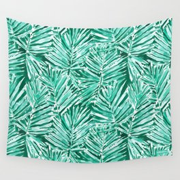 ON VACAY Green Palm Leaves Wall Tapestry