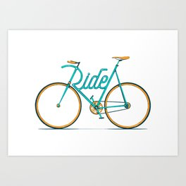 Ride Typo-Bike Art Print
