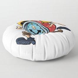 Clock Man Running Floor Pillow