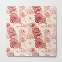 seamless   pattern with roses and leaves . Endless texture Metal Print