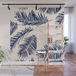 Blue Palm Leaves x Dry Brush Wall Mural
