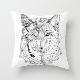 Cyber Wolf Throw Pillow