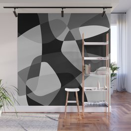 Mid Century Modern Abstract Rock Layers Charcoal Wall Mural