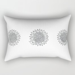 Black & White Sunflowers Rectangular Pillow