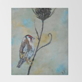 Goldfinch on Thistle Throw Blanket