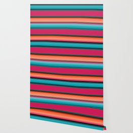 Traditional Mexican Serape in Teal Wallpaper