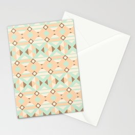 Pastel green brown ethnic moroccan motif pattern Stationery Cards