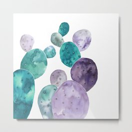 Watercolor cactus bunch in turquoise and violet Metal Print