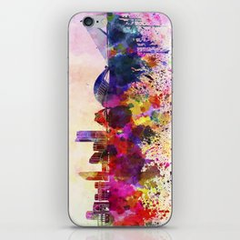 Valencia skyline in watercolor background iPhone Skin