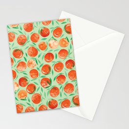 Winter Oranges | Green Background Stationery Cards