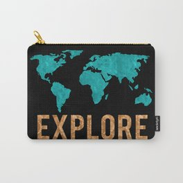 World Map - Teal and Copper Explore Globe Carry-All Pouch