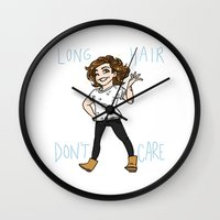 kendrawcandraw Wall Clocks featuring Long Hair Don't Care by kendrawcandraw