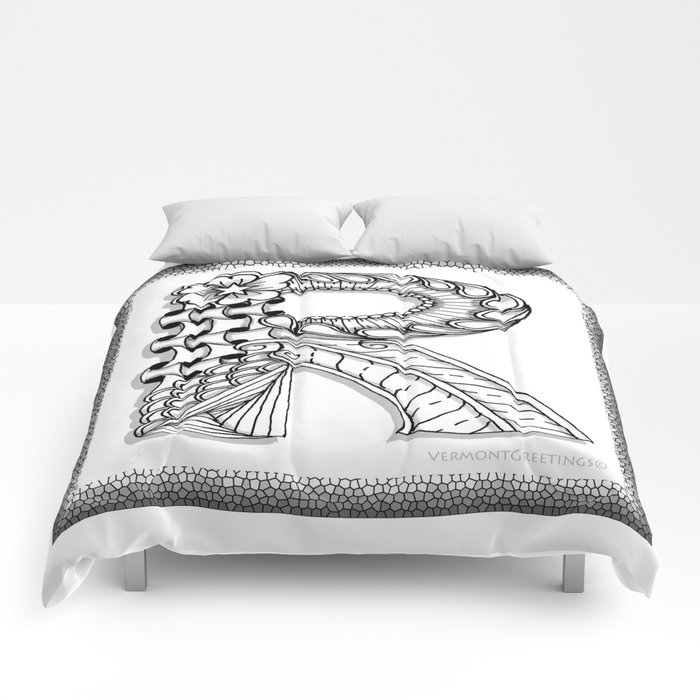 Zentangle R Monogram Alphabet Illustration Comforters