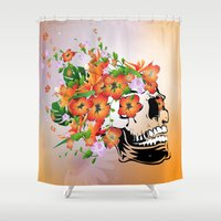 sugar skull Shower Curtains featuring Sugar skull by nicky2342