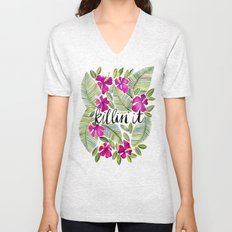 Killin' It – Tropical Pink Unisex V-Neck