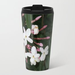 Delicate White Jasmine Blossom with Green Background Travel Mug