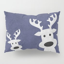 Christmas reindeer blue marble Pillow Sham