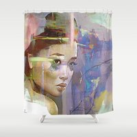 japanese Shower Curtains featuring Izanami goddess Japanese by Ganech joe