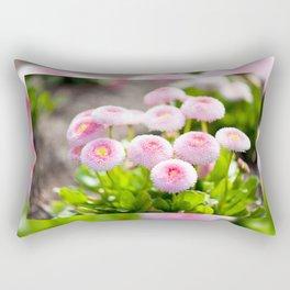 Bellis perennis pomponette flowers Rectangular Pillow