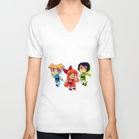 powerpuff girls V-neck T-shirts featuring PowerPuff Girls by lemonteaflower