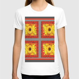 TEAL-RED ART & YELLOW SUNFLOWER CHARCOAL GREY DECO T-shirt