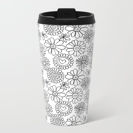 Doodle floral pattern Metal Travel Mug