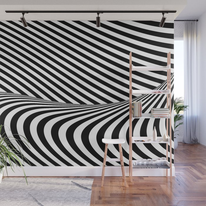 Black and White Pop Art Optical Illusion Lines Wall Mural
