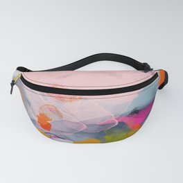 pastel pink landscape abstract Fanny Pack
