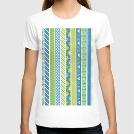 Geometrical lime green blue floral stripes patterns T-shirt