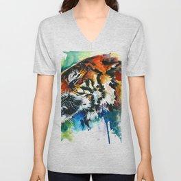 Orange Mad Tiger Watercolor Unisex V-Neck