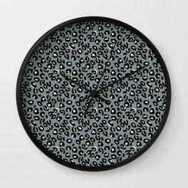 Grey and Black Leopard Spots Animal Print Pattern Wall Clock